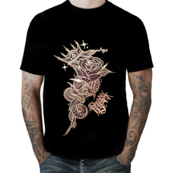 Snake with Rose and Crown B&W T-shirt